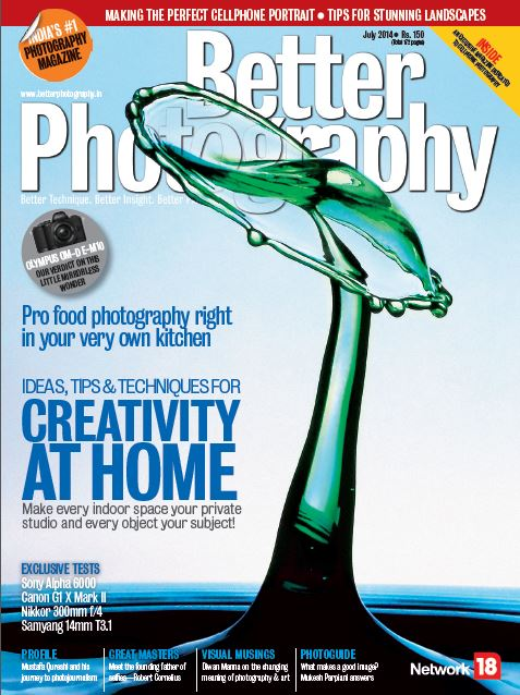 "First Dentist to feature on the cover shot and interviewed on high speed liquid photography in India's Leading Photography magazine ""Better Photography"""
